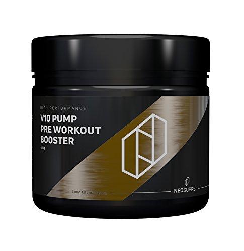 Neosupps V10 PUMP Pre Workout Booster V10 'Long Island Icetea'/Trainingsbooster/100% Fokus und mehr Kraft und Ausdauer/Pump beim Sport und Muskelmasse, Geschmack:Long Island Ice Tea -