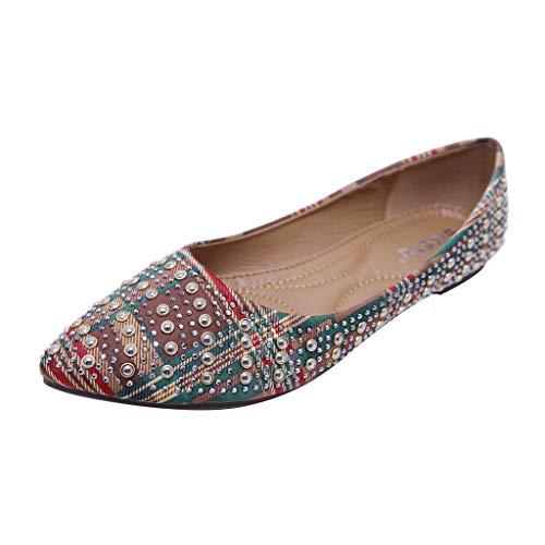 Makefortune 2019 Damen Sandals, Frauen Sandalen weiche untere Schuhe Strass böhmische Flache einzelne Sommerschuhe Sandaletten Sommer sandalenuhe Turnschuhe Freizeitschuhe