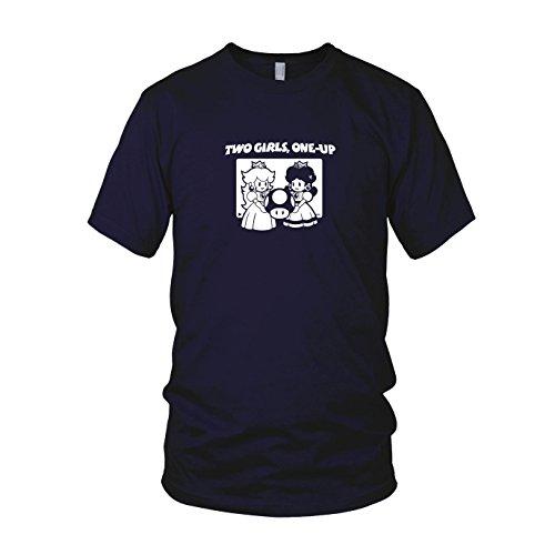 Two Girls, One-Up - Herren T-Shirt, Größe: XL, (Kostüm Mario Girl Bro)