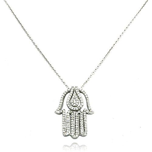 Collana con pendente d'Argento TIONEER® medio diabolico di Hamsa mano fascino sterlina con 16