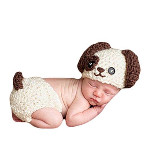QHGstore Bambino fotografia Abbigliamento Neonato Foto Imposta Knitting Cane sveglio set fotografici Studio Animal Insiemi bambino Giochi di Ruolo