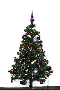 weihnachtsbaum k nstlich geschm ckt weihnachtskugeln lila lichterkette spitze. Black Bedroom Furniture Sets. Home Design Ideas