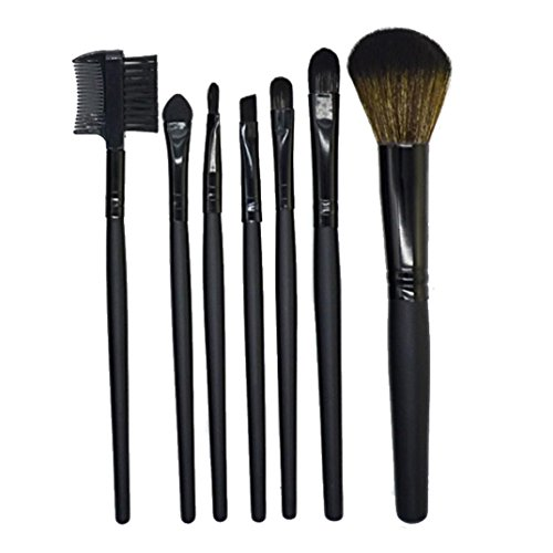 7Pcs PoignéE En Bois Maquillage Brosse Lolittas Fard à Paupières Produits De Beauté Outil De Pinceau De MéLange (Noir)