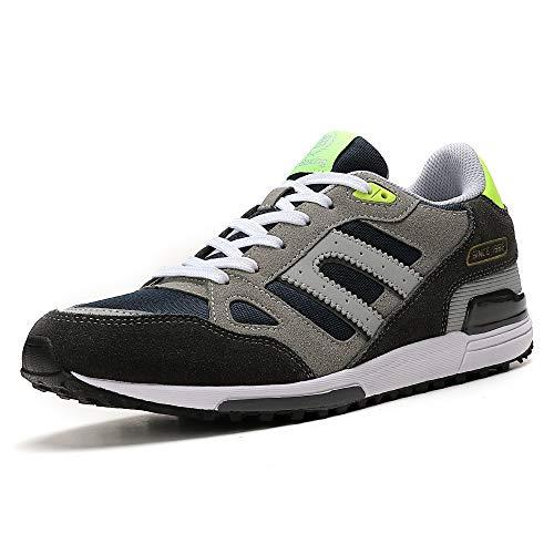 AX BOXING Zapatillas Hombres Deporte Running Sneakers Zapatos para Correr Gimnasio Deportivas Padel Transpirables Casual (41 EU, A98333-Gris Claro)