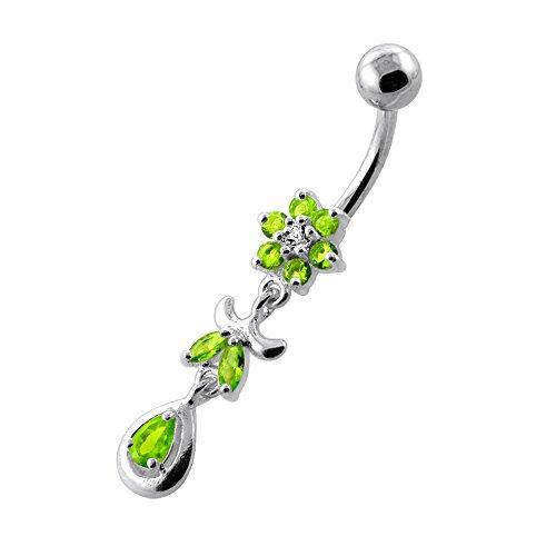 Fleurs tendance Design 925 Sterling Silver ventre avec acier inox Light Green