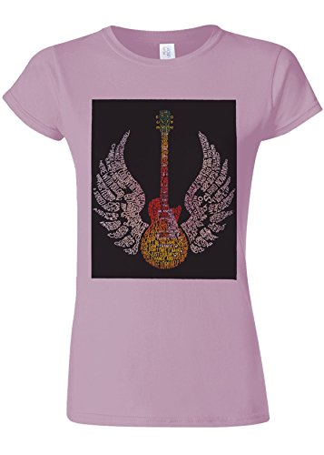 Guitar Music Wings Art Novelty Light Pink Women Damen Top T-shirt Verschiedene Farben-XXL (T-shirt Wings Top Pink)