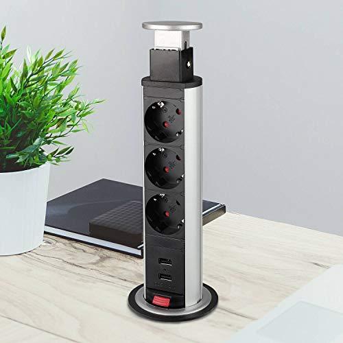 Versenkbare Steckdose für Küche und Büro - Tischsteckdose aus hochwertigem Kunststoff mit 3 Steckdosenelementen und zwei USB Anschlüssen - ca. 170cm langes Anschlusskabel | 2x Schuko + 2x USB