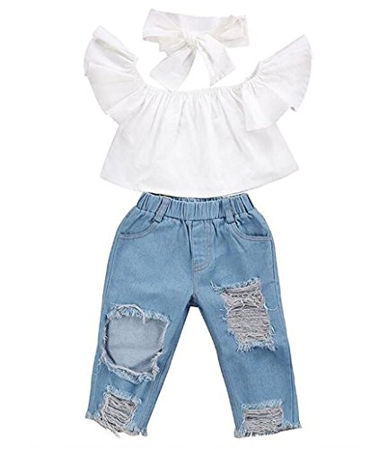 Baby Girls Outfits Off shoulder Crop Tops + Denim Pant Headband Children Toddler Kids Clothes Set (6-12 Months, White)