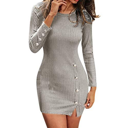 Italily vestito donna abito mini manica lunga elegante vestito abito da cocktail solido vestiti invernali slim fit sexy button split casual pullover bodycom cocktail clubwear