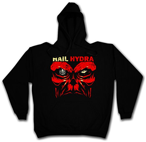 HAIL HYDRA PULLOVER SWEATER SWEATSHIRT MAGLIONE FELPE CON CAPPUCCIO - Captain Heil Red Skull World War Comic Hero Red Captain Logo Nick SHIELD Fury America Taglie S - 2XL