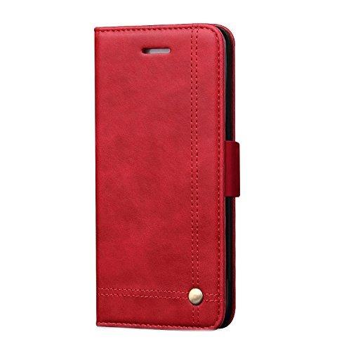 Samsung Galaxy Note 8Wallet Fall, tacoo Premium PU Leder Ständer Karte Geld Slot Magnet Adsorption Fold Full Schutz Schwarz Handy-Cover für Samsung Galaxy Note 82017, Rot