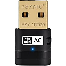ESYNiC AC 5G 600Mbps Dual Banda WiFi USB Adattatore Velocità Massima fino a 5G 433Mbps 2.4G 150Mbps - Conforme a IEEE 802.11AC/N/G/B-WPS Wireless Network Adattatore Nano Supporta Windows 10/8/7/XP32/64bit - Connettore Oro