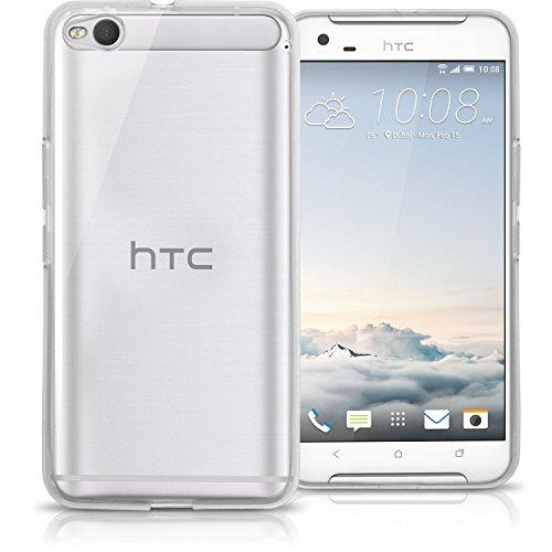 igadgitz Transparent Klar Glänzend Etui Tasche Hülle Gel TPU für HTC ONE X9 Case Cover + Displayschutzfolie
