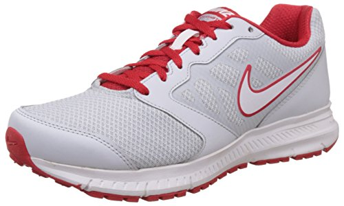 Nike Men's Down-Shifter Pure Platinum, White and University Red Mesh Running Shoes -7 UK/India (41 EU)(8 US)