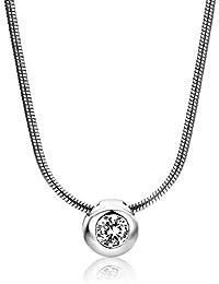 Miore Damen-Halskette mit Anhänger – Elegante Kette aus 925 Sterling Silber mit Zirkonia-Solitär – Halsschmuck 42cm lang, Silber