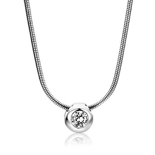 Miore Damen-Halskette mit Anhänger - Elegante Kette aus 925 Sterling Silber mit Zirkonia-Solitär - Halsschmuck 42cm lang, Silber
