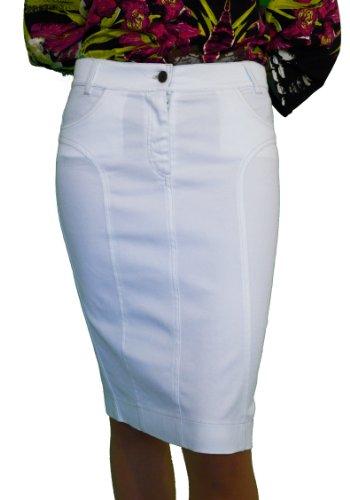Damen Freizeit Boutique Knielangen Bleistiftrock Weiß Denim 36 38 40 42 44 46 48 50 (36)