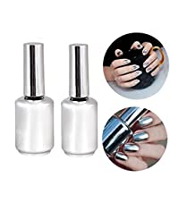 LHWY Manteau 2Pcs 15ML Metallic Effet Miroir Vernis à ongles en métal argenté Tarnish & 15ML Top