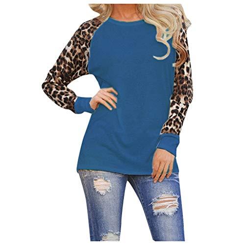 Longzjhd Damen Langarm T-Shirt Casual Tops Leopard Shirt Rundhals Ausschnitt Oberteil Bluse Freizeit Sport Hoodie Sweatshirt Sweater Top Oberteie Sweatshirts Sportbekleidung Langarmshirts -