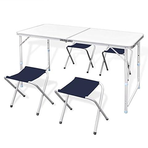 Table Hauteur Ajustable - Anself Table Pliante de Camping Hauteur Ajustable