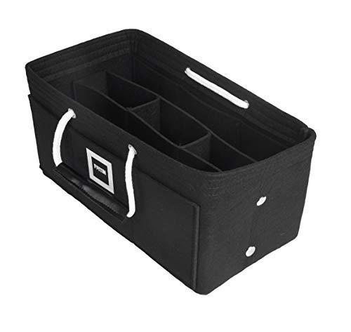 FFITIN Taschenorganizer Filz - Handtaschenorganizer mit Tragegriffen | Bag in Bag | XL Handtaschenordner (Charcoal Black, M - Medium (24 x 14 x 14 cm))