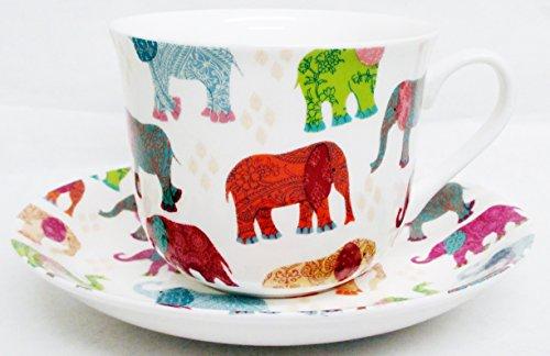 Elefantes Taza de desayuno y platillo (porcelana de ceniza de hueso China Patched Multicolour elefantes taza grande y platillo decorado a mano en el Reino Unido