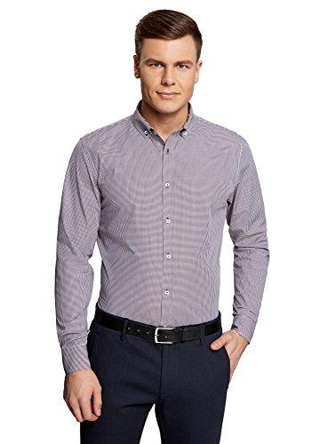 Oxford-hemd Mit Karomuster (oodji Ultra Herren Tailliertes Hemd mit Kleinem Karomuster, Violett, Herstellergröße 40 (Kragenweite 40 cm)/ DE 40 / S)