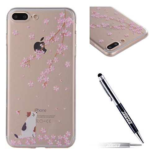 JAWSEU Coque Etui pour iPhone 7 Plus,iPhone 7 Plus Coque en Silicone Transparent,iPhone 7 Plus Souple Coque Ultra Slim Clair Etui Housse,iPhone 7 Plus TPU Gel Protective Cover,Ultra Mince Flexible Sof Fleurs de Cerisier
