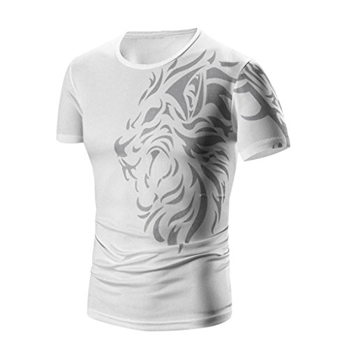 Tops Sannysis Tankshirt Muscle Ärmelloses T-shirt Tank Top Persönlichkeit Tarnung Männer Beiläufig Schmales Kurzarmhemd Top Bluse (L, Weiß-1)