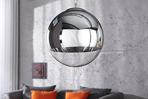 Große Design Hängelampe GLOBE 40cm Glas chrom Kugelleuchte - 4