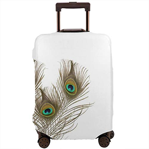 Travel Suitcase Protector,Peacock Feathers Closeup Simple Picture Minimalistic Design Stylish Home Artwork,Suitcase Cover Washable Luggage Cover L -