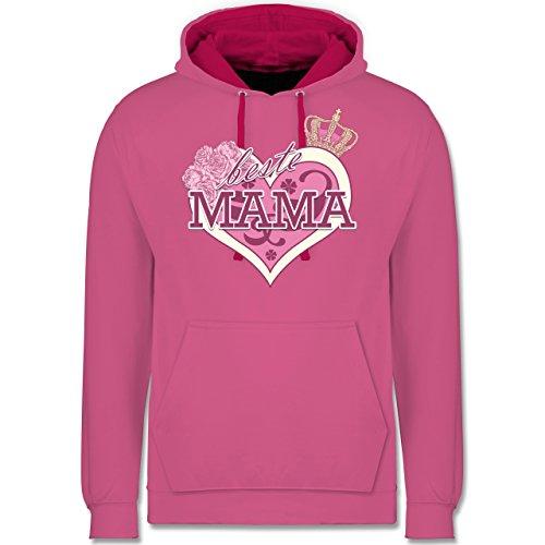 Muttertag - Beste Mama - Kontrast Hoodie Rosa/Fuchsia