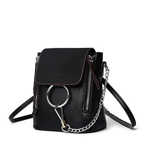 QPALZM 2017 Frau Matt Schulter Tasche Multifunktionale Schulter Lässig Mini-Handtasche Kettenrucksack Black