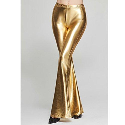 Zhuhaitf Beau et confortable Candy Color Flared Trousers Slimming Special Wide Leg Harem Casual Pants for Ladies gold