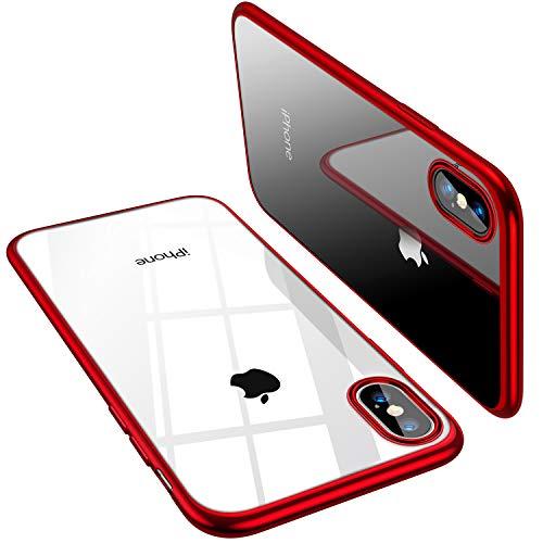 TORRAS iPhone X Hülle [Nur für iPhone X], Silikon Durchsichtig Dünn Schutzhülle Transparent Handyhülle Kratzfest Klar Soft TPU Slim Case Clear HandyHulle für iPhone X - Rot