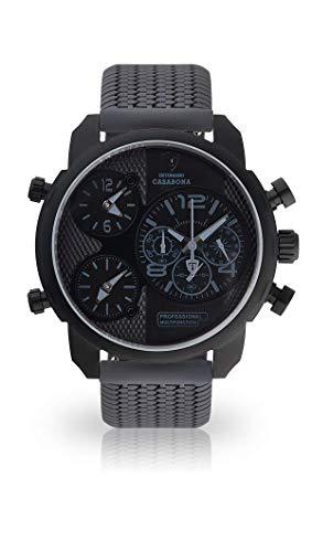 DETOMASO CASABONA XXL Herren-Armbanduhr Chronograph Analog Quarz graues Silikon-Armband schwarzes Zifferblatt DT2018-E-778