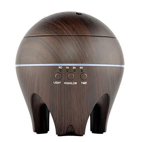 Preisvergleich Produktbild 500ml Aroma Diffuser,  HolzmaserungAir / Oil Aroma Diffusor Mit Bunten Sternenhimmel LED Neuheit Nachtlicht für Home Office Yoga Spa (Dunkelbraun)