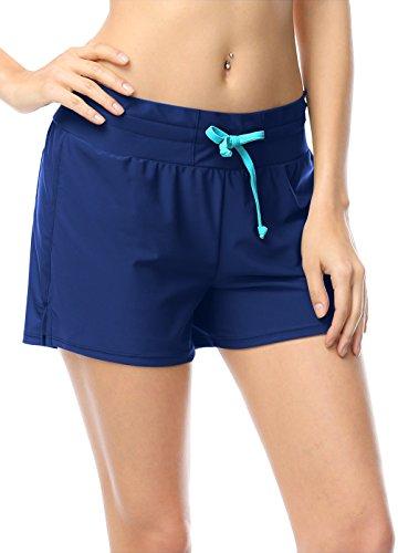 OUO Damen UV Schutz Badeshorts Schwimmen Bikinihose Schwimmshorts Boardshorts Deep Blau L