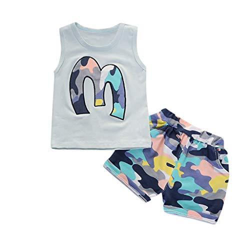 Julhold Sommer Kleinkind Kinder Jungen Niedlich Print Lässige Kleidung T-Shirt Tops Camo Shorts Outfits 2er Set 0-3 Jahre