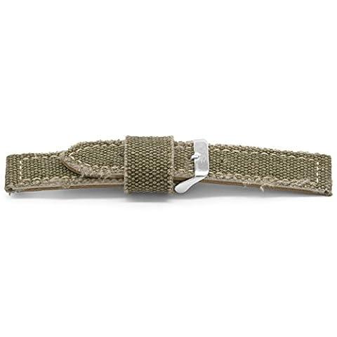 Claudio Calli Toile avec cuir bracelet de montre Spyker Vert avec boucle ardillon en acier inoxydable 18mm F863