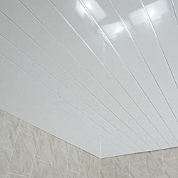 Claddtech White ceiling panels splashbacks - bathroom wall cladding panels splashbacks kitchen shower wetrooms-100% Waterproof-By (4 Panel Pack)