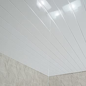 Claddtech White ceiling panels splashbacks - bathroom wall cladding panels  splashbacks kitchen shower wetrooms-100% Waterproof-By (4 Panel Pack)