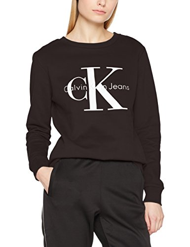 Calvin Klein Jeans Damen Sweatshirt CREW NECK HWK TRUE ICON, Gr. X-Small, Schwarz (Meteorite 965) (Frauen-logo-jeans)