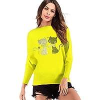 Luckycat Camisa de Rayas, Mujer Blusa Cuello En V Franja Camiseta de Mangas Largas Camisa con Botones