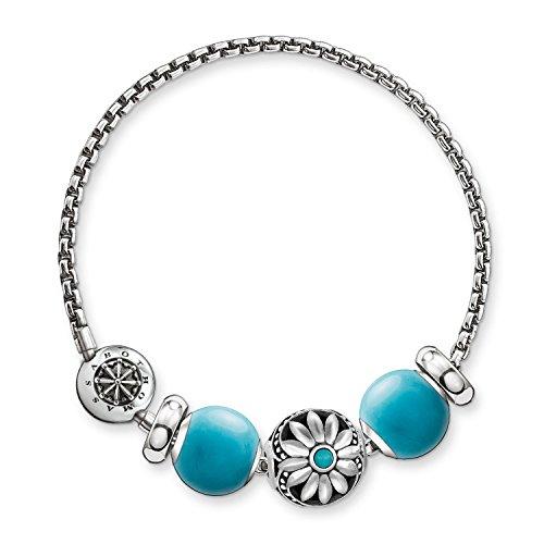 THOMAS SABO Damen Armband Ethno 925er Sterlingsilber, Geschwärzt, Silikon SET0363-495-17