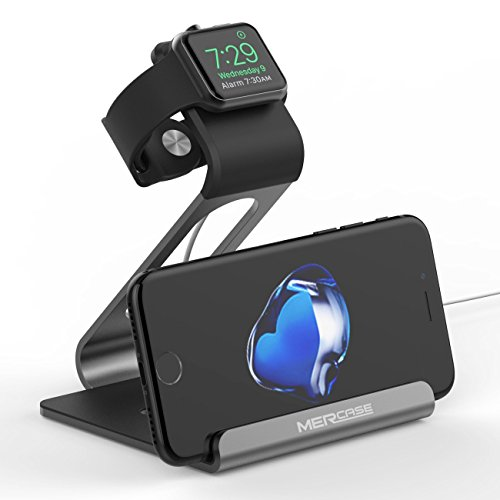 Apple Watch Stand, Mercase iWatch Ständer Docking Station Ladestation Halterung Halter [Kompatibel zum Nachtmodus] für Apple Watch Serie 1 / Serie 2 (42mm 38mm) iPhone 7 7plus 6S 6plus-Spacegrau