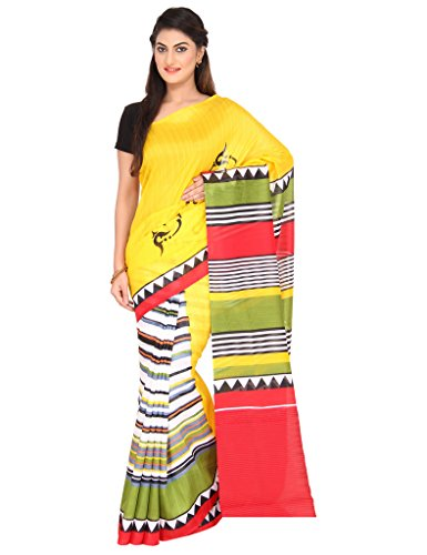 The Chennai Silks - Half & Half Contrast Border Khadi Silk Saree-Yellow with Cream-(CCSW-SY-62)  available at amazon for Rs.400