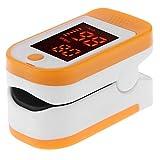 Pulsossimetro da dito Pulsossimetro, portatile LED display saturazione di ossigeno nel sangue monitor con borsa per il trasporto per bambini e adulti Taglia libera Orange