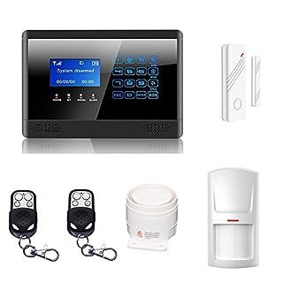 ATD® Enthält 1 Tür-Fenster-Sensoren,1 Bewegungsmelder, 2 Fernbedienungen und 1 verkabelte laute Innensirene,M2BX komplettes DIY drahtloses GSM Home Security Alarm-System zur (schwarz)