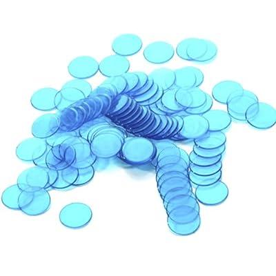 100pcs Jetons de Bingo en plastique Bleu Clair 3/4 Pouce